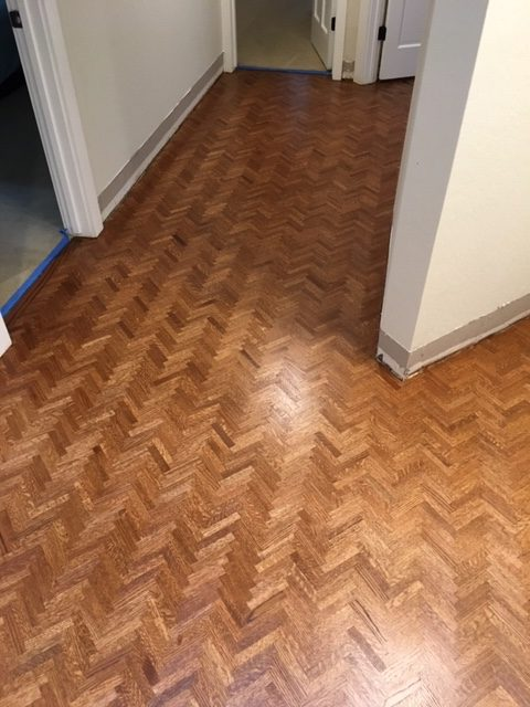 After Refinish Herringbone Wood Floors Lafayette Refinish